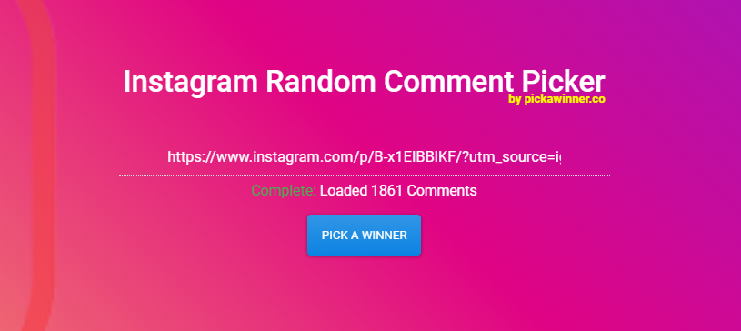 Loading Comments from an instagram post and showing giveaway on instagram is ready.